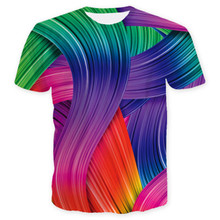 Summer Europe US Colorful Stripes print T-Shirts Handsome Men Youth Multi-color Rainbow 3D printing Streetwear Artists Graffiti