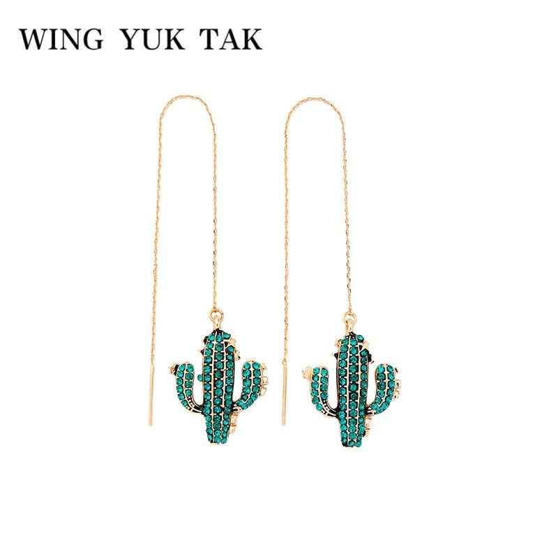 wing yuk tak Green Crystal Leaves Chain Pendant Earrings for Women Trendy Imitation Plant Long Drop Dangle Darrings