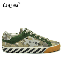 CANGMA Brand Breathable Vintage Camouflage Mens Shoes Cow Suede Leather Handmade Green Footwear Male Leisure Spring