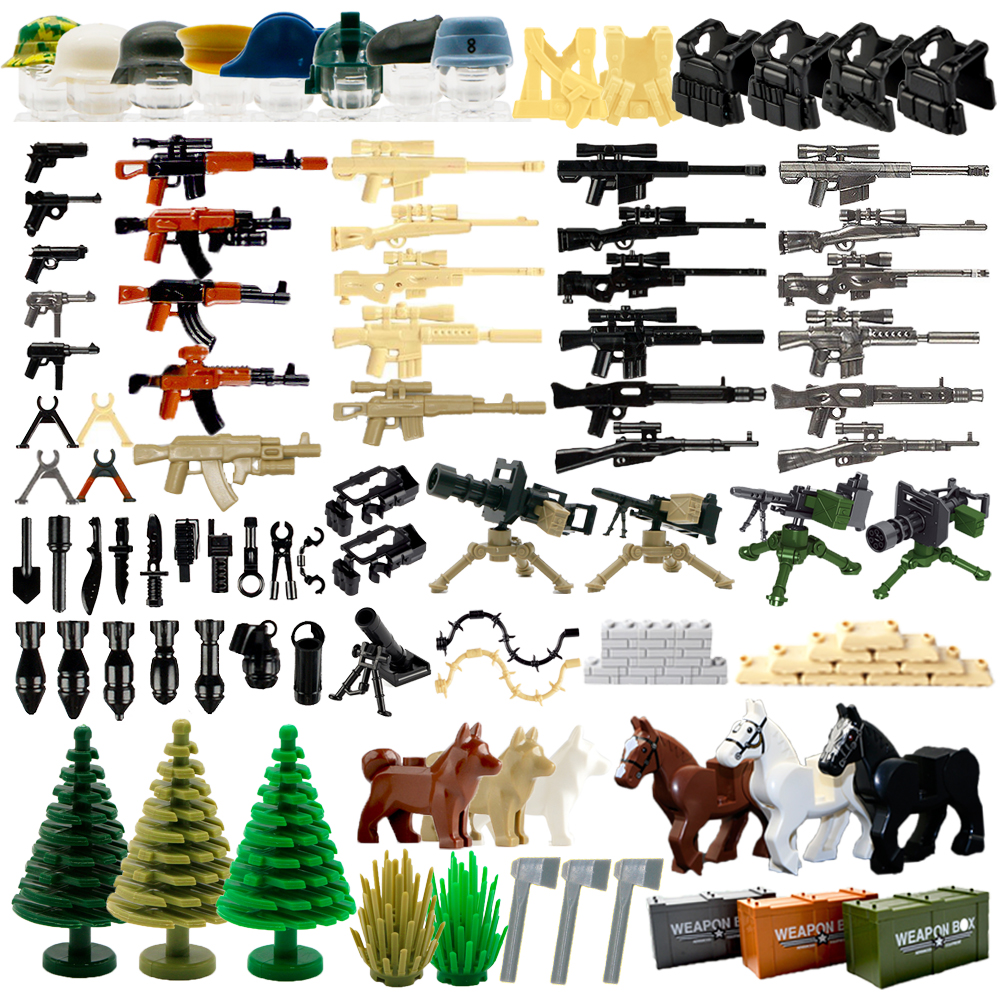 WW2 Military Weapon Building Blocks Pack MOC Army Accessories lots Soldier Figures Gun City Police SWAT Team Dogs Toys For Boys