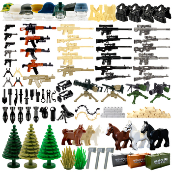 WW2 Military Weapon Building Blocks Pack  MOC Army Accessory Soldier Figure Gun City Police SWAT Team Toys Compatible With Lego