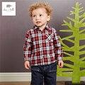 DB4096 dave bella otoño bebé niños acolchado tops camisa de algodón bebé camisa de tela escocesa roja rejilla bebé camisa de cuadros escoceses