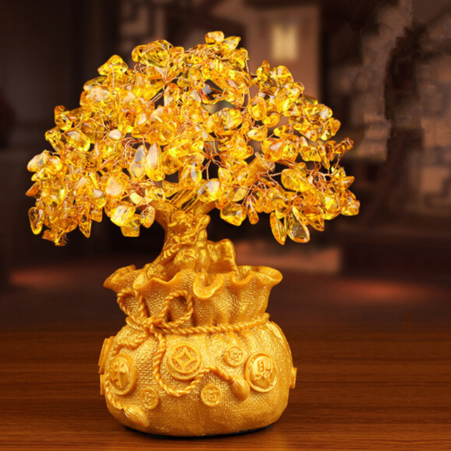 Charmant Gold Plating Money Tree Many Coins God Of Wealth Resin Crafts Opening Gifts  Treasure Bowl Home