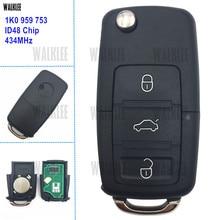 WALKLEE 434 MHz Remoto Chave Apto para SKODA Octavia II 1K0959753 HLO 1K0 959 753 Controle de Bloqueio Da Porta Do Carro Auto alarme