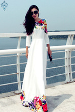 Ameision 2019 Summer Beach Women Flower O-Neck Dresses 3/4 Sleeve Print Clothing Maxi High Waist Long A-Line Slim Dress