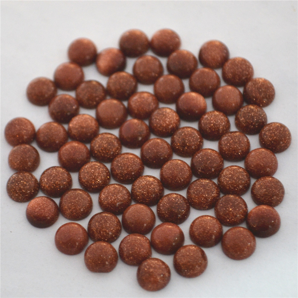 Wholesale 6MM Good Quality Assorted Natural Stone Cabochon CAB Round Beads Gold Sand Charms Beads For Jewelry Making 100Pcs