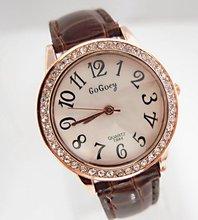 vacation sale gogoey model crystal leather-based informal watch girls women style costume quartz wrist watch Go020