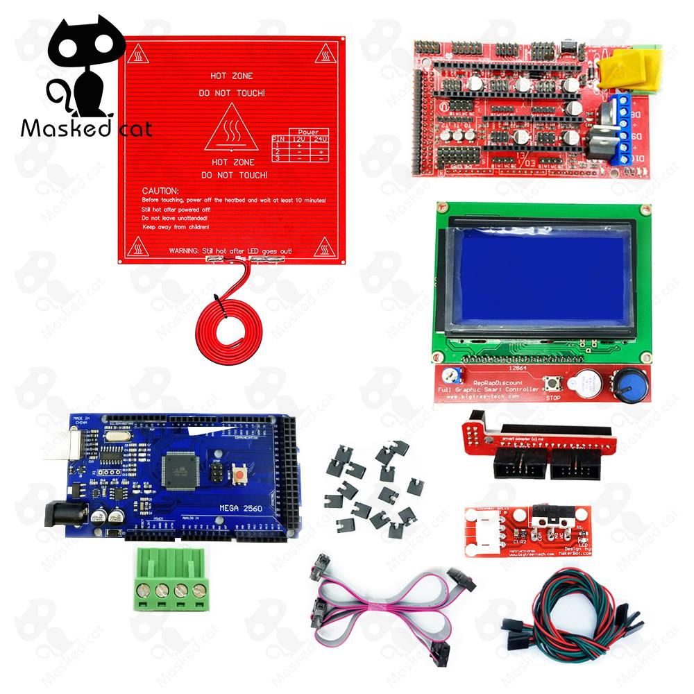 CNC 3D Printer parts Kit RAMPS 1.4 Controller + LCD 12864 + 6 Mechanical Limit Switch Endstop+ Mega 2560 R3 + Heated Bed MK2B 6 pcs lot endstop mechanical limit switches 3d printer switch for ramps 1 4 free shipping dropshipping
