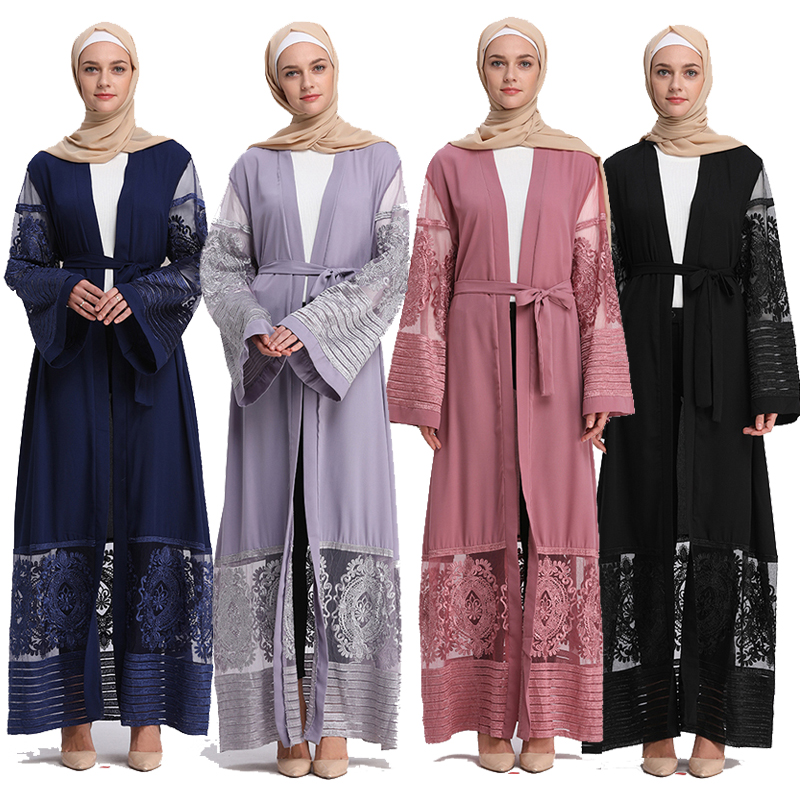 2019 Abaya Cardigan Lace Velvet Muslim Hijab Dress Turkish Islamic Clothing Robe Dubai Caftan Abayas For Women Bangladesh Kaftan
