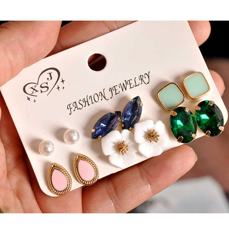 2018 new fashion women's jewelry girls' birthday party: pearl earring green and pink green mixed suit 6 pairs /set earrings