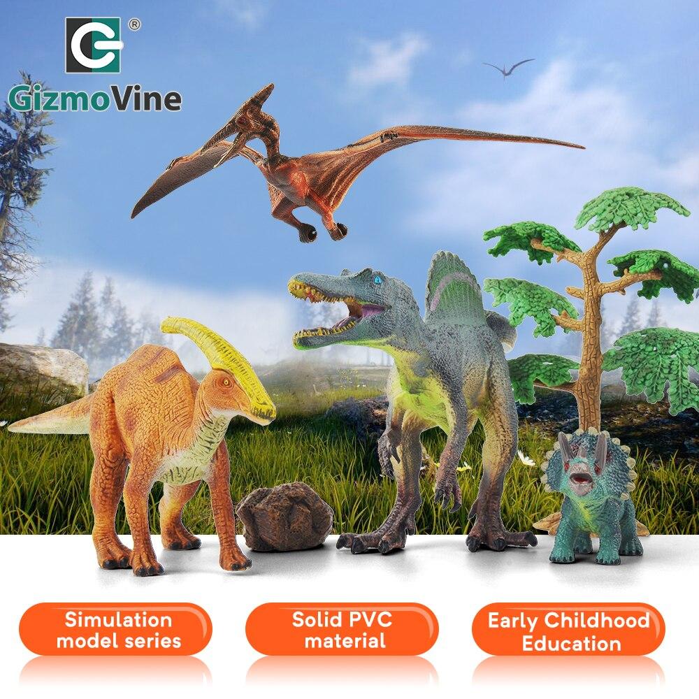 GizmoVine 6 pièces parc dinosaure modèle jouets pour enfants PVC Simulation animaux ensembles pour enfant Dragon Action jouer Figure jouets pour bébé