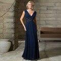 Champagne azul marinho roxo V Neck voltar longo mãe da noiva vestidos mulheres Chiffon Evening vestidos 2016 vestido de madrinha