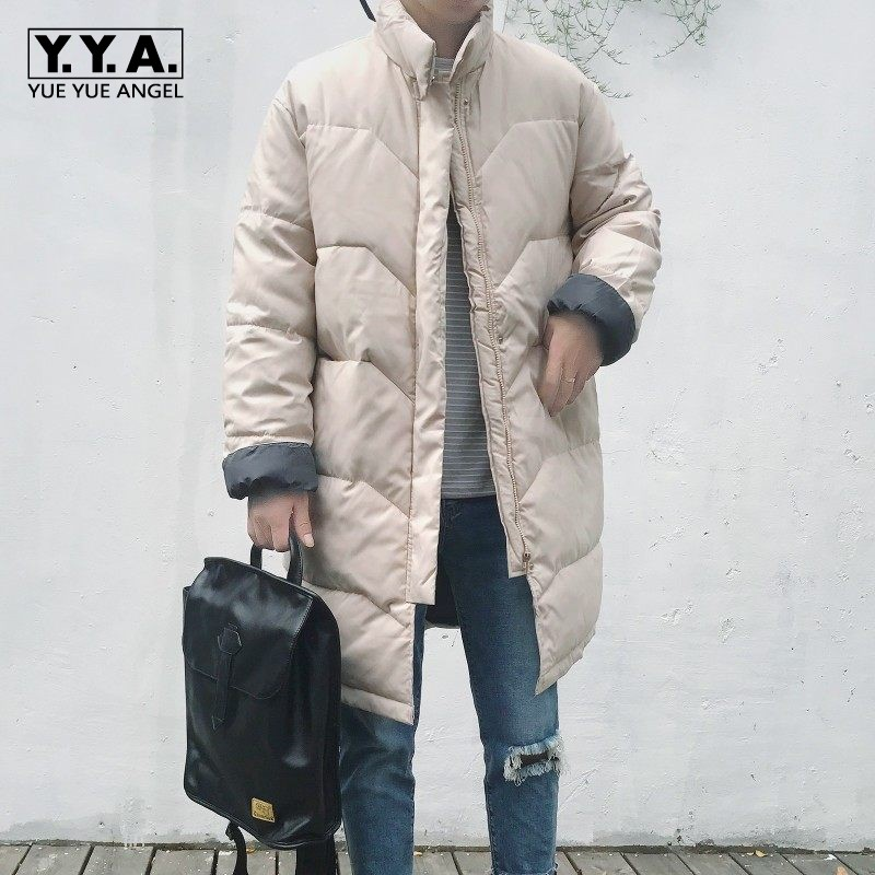 Harajuku Mens Parka Loose Thicken Down Jackets Boyfriend Oversize Long Coat Top Brand Winter Warm Stand Collar Padded Overcoat top ec mens winter thicken warm smalltand collar down jacket coat
