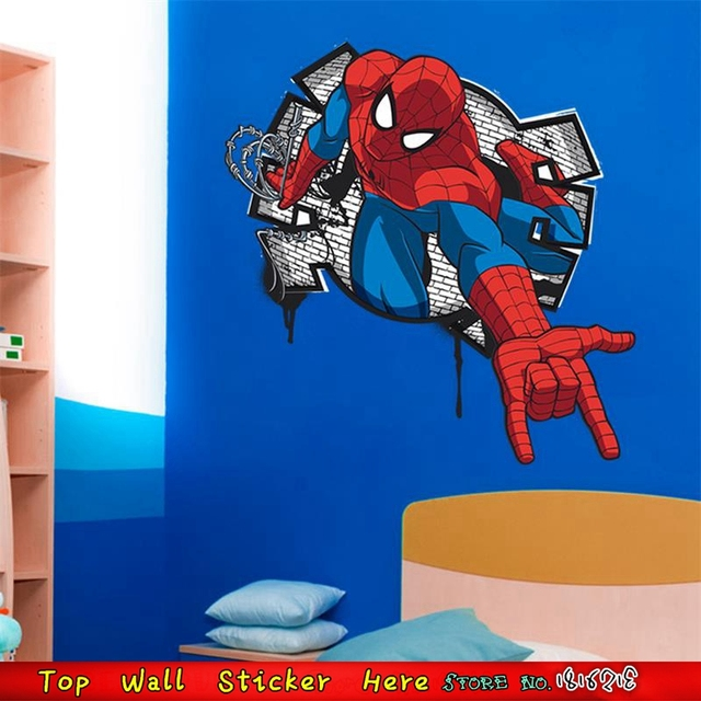 Muurstickers Kinderkamer Spiderman.Cool Spiderman Muursticker Voor Kinderkamer Decoratie Marvel