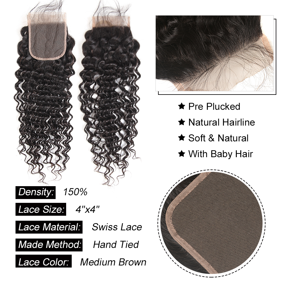 Alipearl Hair 3 Bundles Brazilian Deep Wave 100% Human Hair Bundles With Frontal Natural Black Remy Hair Extension Free Shipping Human Hair Weaves
