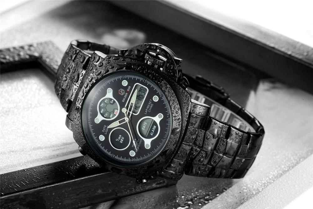 ที่ขายดีที่สุดทั้งหมดสแตนเลสสีดำผู้ชายOriginaฉลามนาฬิกาสไตล์อนาล็อกดิจิตอลปลุกน้ำทนRelógio Masculino 13