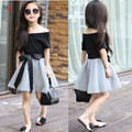 New Summer Fashion Short Sleeve Off Shoulder Black T Shirt Mesh Skirt With Ribbons Elegant Girls Clothing Set Dress