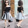 Nova moda de verão de manga curta fora do ombro camisa preta de t saia de malha com fitas elegante conjunto de roupas meninas dress