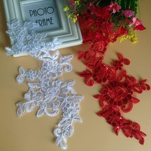 10Pcs Wedding Dresses Lace Applique Accessories Material DIY Patch Embroidery Motif White Red Sequin Fabric