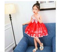 2017 niños del verano que arropan Peng Peng pequeño vestido del hilado vestido de la danza de los niños de escuelas primarias y secundarias 4-7Y