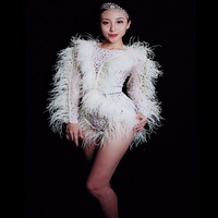 Women New Singer Sexy Fashion Stage Wear White Feathers Long Sleeve Pearl Crystals Bodysuit Party Show Performance Dance Costume