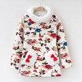 Para a criança do sexo feminino top camisa básica além de veludo espessamento outono e inverno roupas de gola alta roupas térmicas outerwear