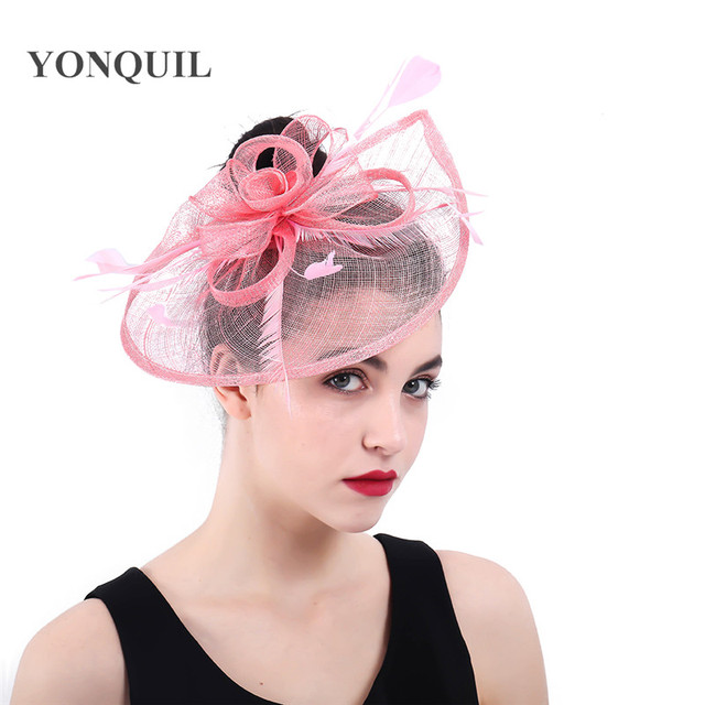 5b1ddde8847 Elegant Womens Net Navy Pink Fascinator Hat Bridal Feather Hair Clips  Headwear Philippines Sinamay Ladies Days