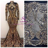 New fashion show 7colors sparkling sequins on Elastic mesh embroidery lace fabric wedding/party/evening dress lace fabric
