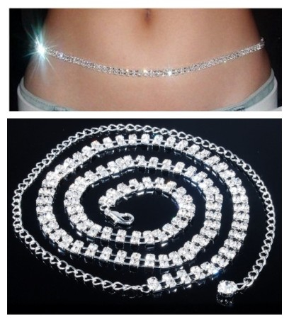 Stripper Delight So SEXY Rhinestone 2 Row simple CLASS Belt Belly Chain gold & silver BOX PACKING Free Shipping