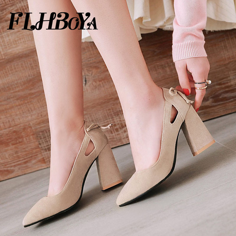 2018 Fashion New Square heels Elegant Pointed Toe Women Pumps Mary Janes Shoe Woman High Thick Heel Office Ladies Pumps Big Size amourplato women s ladies handmade fashion big large size thick block heel closed toe high heel party office pumps chunky shoes
