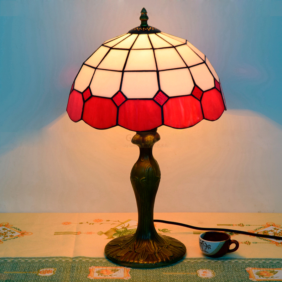 China red glass table lamp china glass table lamp - Hot Sale 30cm Red Wedding Decoration Table Lamp Creative Tiffany Retro Glass Led Table Lamp