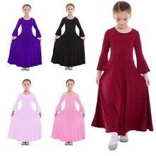 Children Girls Praise Dress Liturgical Lyrical Praise Dance Dress Bell Sleeve Praisewear Pleated Long Dress for Kids Girls 3-14Y