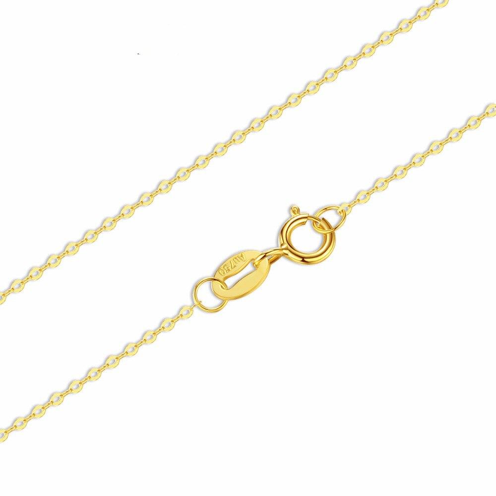 18 К белый желтый золотой цепочкой из чистого золота Цепочки и ожерелья тонкой цепочке легкой цепи золотой Цепочки и ожерелья best подарок для ...