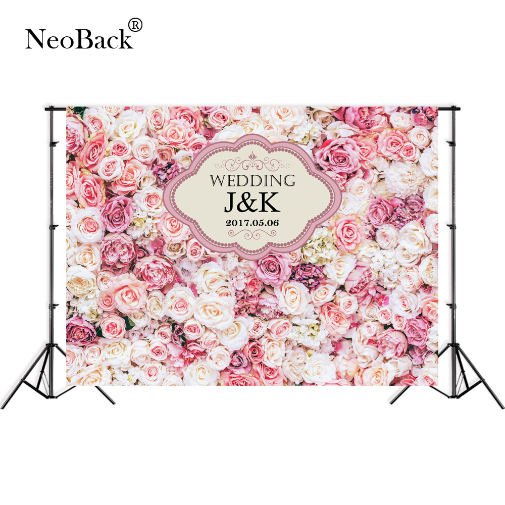 NeoBack Thin Vinyl Custom Pink Floral Wall Wedding Photo backgrounds Children Kids Photo Backdrops Party Welcome Board P3154