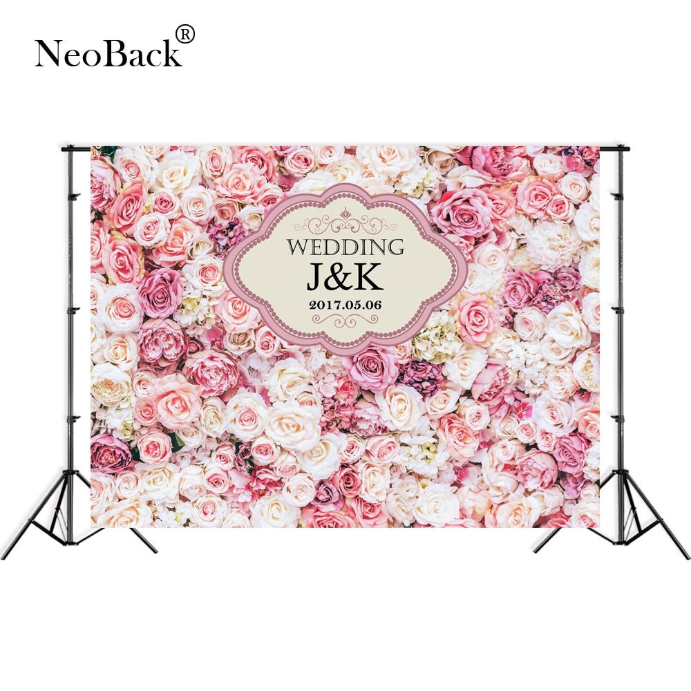 NeoBack Thin Vinyl Custom Pink Floral Wall Wedding Photo backgrounds Children Kids Photo ...