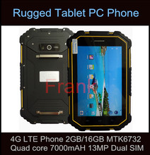 Original Rugged Tablet PC waterproof IP67 4G LTE Cell Phone 2GB RAM 16GB ROM  MTK6732 Quad core 7000mAH 13MP Dual SIM Card GPS