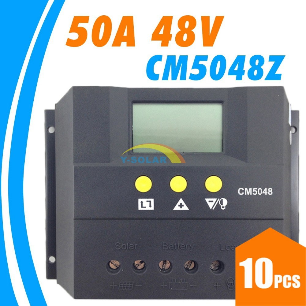 10pcs lots,50A 48V cm5048z Solar Controller PV panel Battery Charge Controller Solar system Home indoor use New 1kw 10 x 100w 12v solar panel pv solar module for rv boat home battery charge