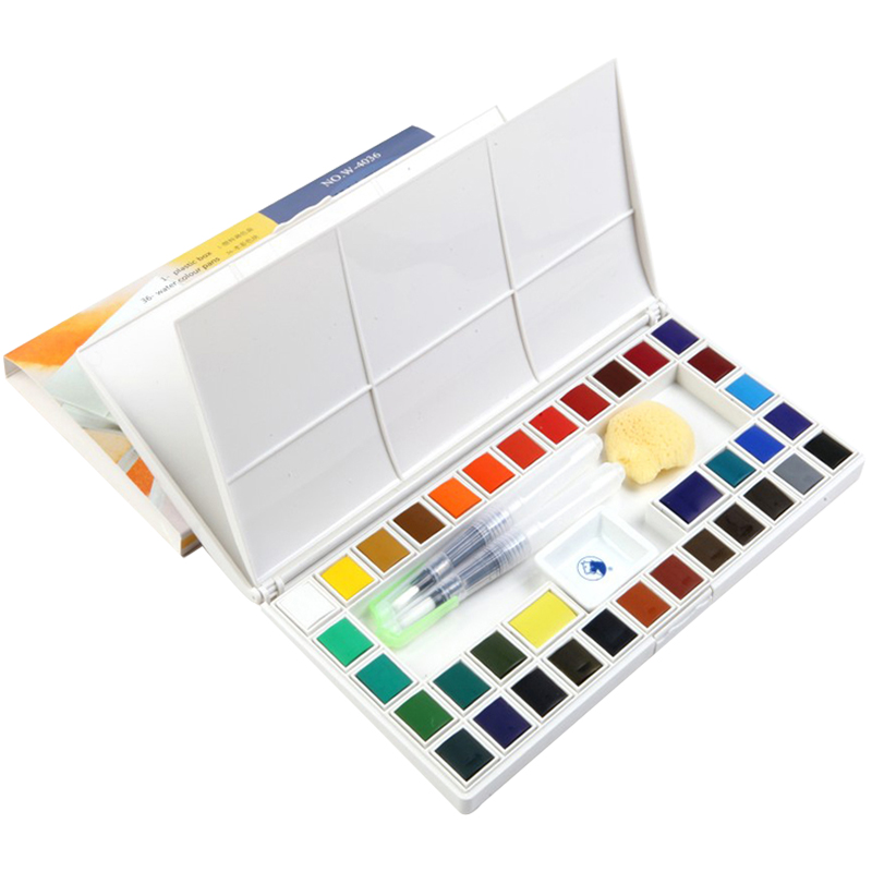 18/24/36Colors Solid Watercolor Paint Set With Water Brush pen Transparent Water color For Drawing Acuarelas Art Supplies18/24/36Colors Solid Watercolor Paint Set With Water Brush pen Transparent Water color For Drawing Acuarelas Art Supplies