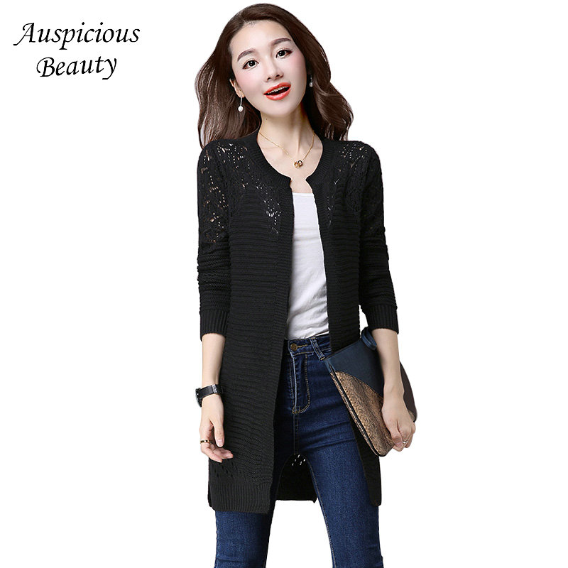 Women Cardigan 2018 Spring and Summer New Outerwear Long Shawls Solid Sweater Womens Loose Hollow Knitted Jacket CX556