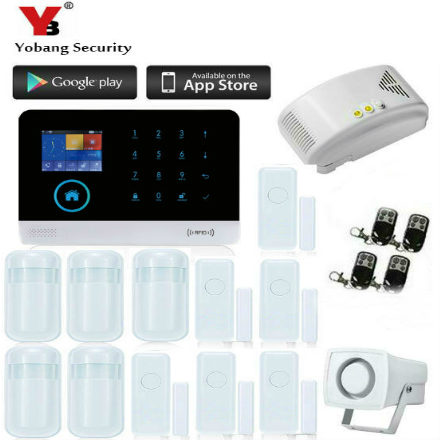 YobangSecurity wireless zones app control Wifi GSM Gprs alarm system with Touch Screen home alarm system PIR Motion Senson yobangsecurity touch keypad wireless home wifi gsm alarm system android ios app control outdoor flash siren pir alarm sensor