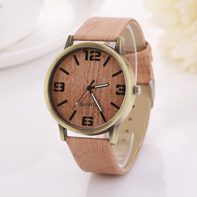 Lovesky 2016 Wooden Quartz Women Watches Men Casual Wooden Color Leather Strap Watch Wood Female Wristwatch Relogio Feminino