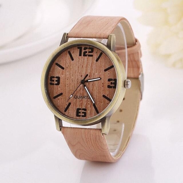 susenstone 2017 Wooden Quartz Women Watches Men Casual Wooden Color Leather Strap Watch Wood Female Wristwatch Relogio Feminino