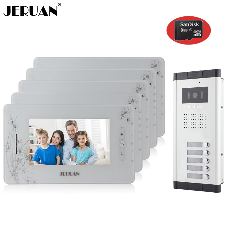 JERUAN Brand New Apartment Intercom 7`` LCD Video Door Phone Doorbell intercom System for 5 house 1V5+8GB card+free shipping new apartment doorbell intercom 7 lcd touch key video door phone intercom system 1camera 10 monitors for 10 house free shipping
