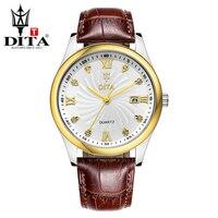 DITA Men Watch Fashion Business Casual Classic Wristwatch Quartz Geniune Leather Strap Luxury Crystal Relogio Masculino