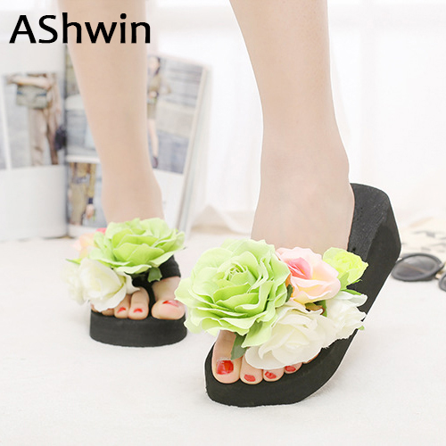 AShwin handmade flower slippers women slippers beach shoes wedge platform slipper cheap shoes woman bohemia hawaiian mules clogs