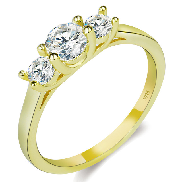 Crystal Jewelry Promise Double Rings For Couples Men Women Gold Colour Pairs Wedding Set