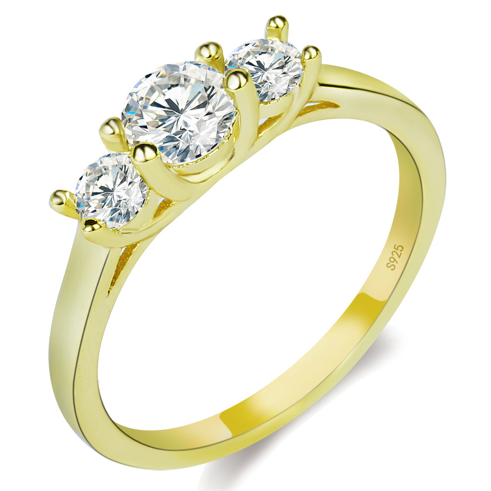 Crystal Jewelry Promise Double Rings For Couples Men Women Gold Colour  Pairs Wedding Rings Set For