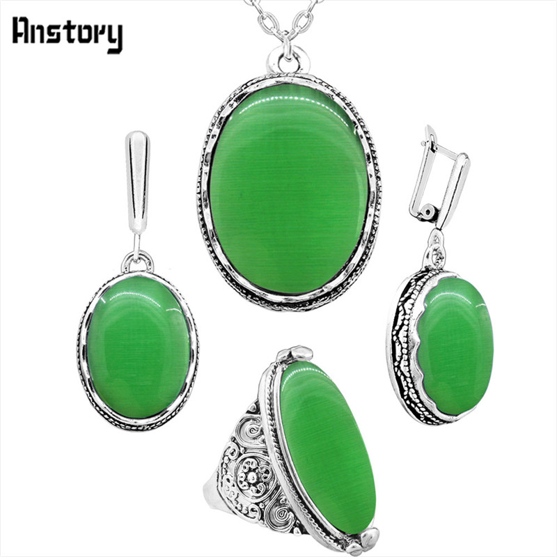 Anstory Oval Opal Jewelry Set Necklace Earrings Rings For Women Flower Pendant Stainless Steel Chain Wedding Gift TS335