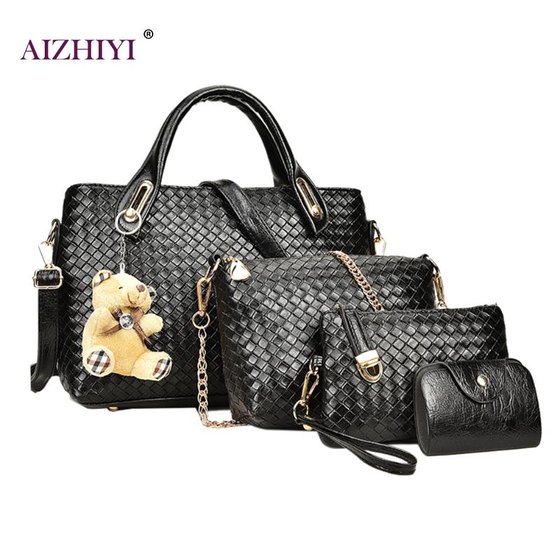 4pcs/set Women Luxury Handbags Emboss Plaid Bag Composite Bags PU Leather Vintage Shoulder Totes Bear Designer Chains bolsa