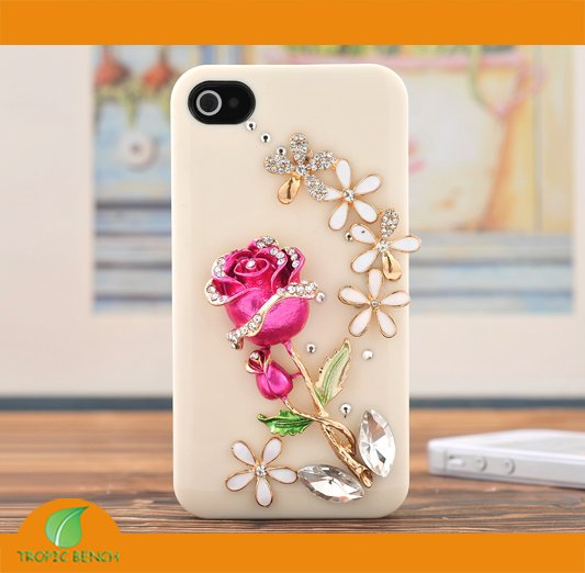 newest 4ceca 43f60 US $9.99 |BRAND PHONE CASE Pink Rose Floral Bling Rhinestone Crystal Mobile  Phone Cover Case For iPhone 4/4S,FREE SHIP on Aliexpress.com | Alibaba ...